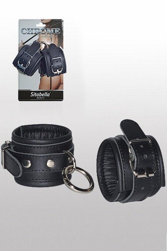 Кожаные наручники с круглым карабином Sitabella Chrome Collection – черный с серебристым