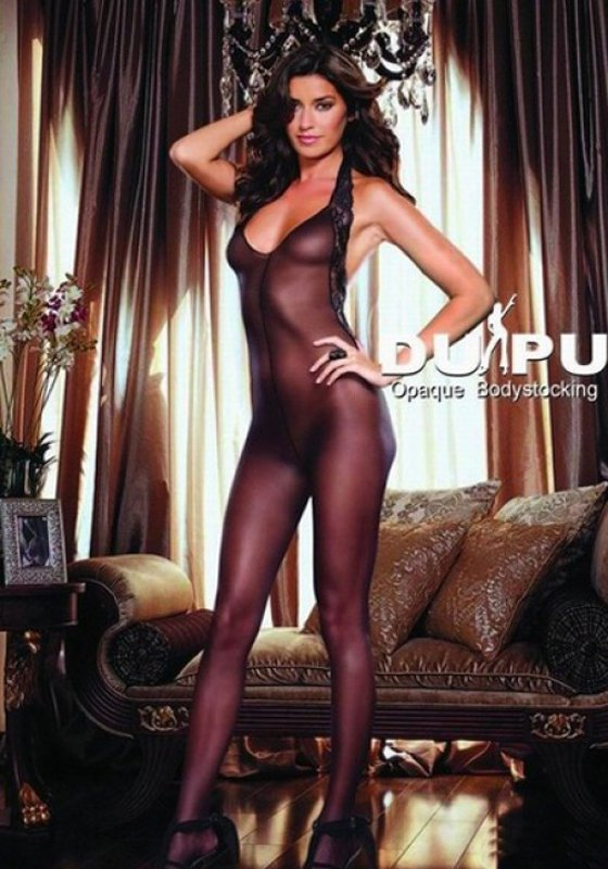 Комбинезон с кружевным контуром Dupu – черный