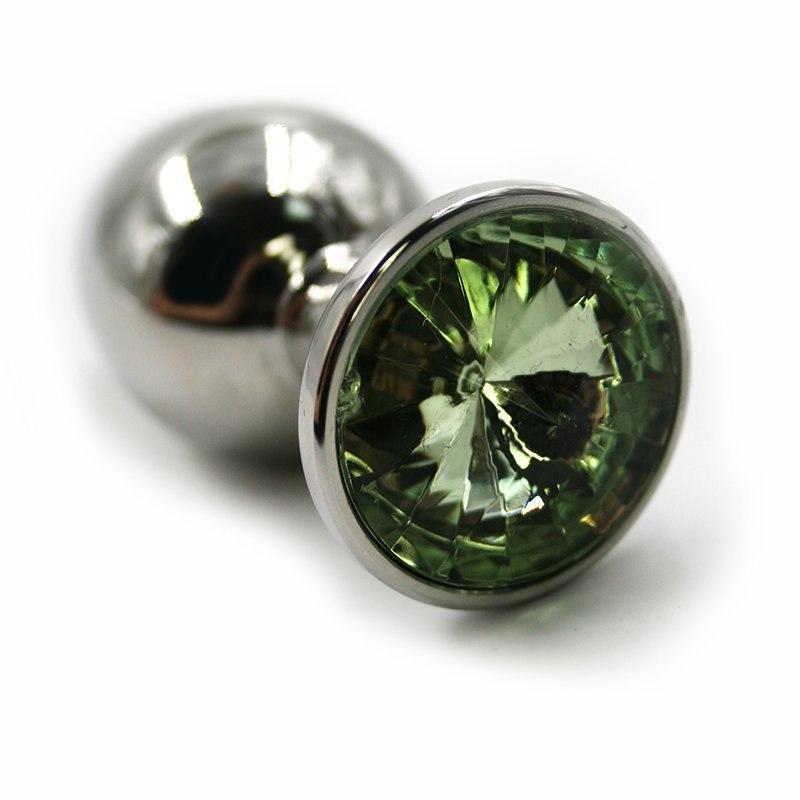Большая алюминиевая анальная пробка Kanikule Large с кристаллом – серебристый с зеленым