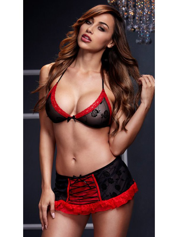 Комплект женского белья: бюстгальтер и юбочка - черный с красным (Baci Lingerie, США)