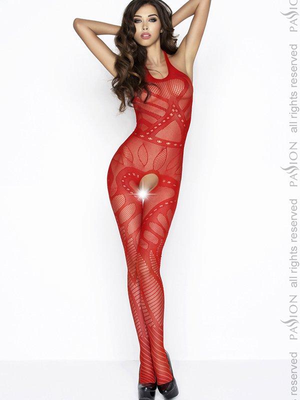 Чулок на тело с орнаментом Пламя страсти (Passion) – красный