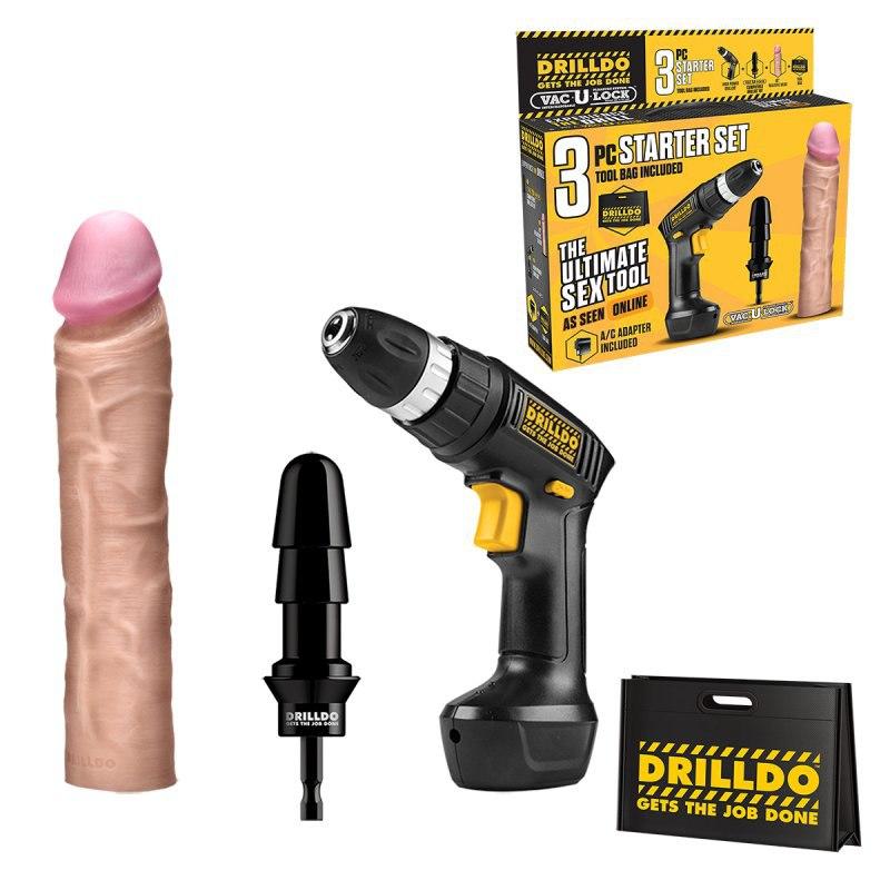 Секс-набор Drilldo Starter с реалистичной насадкой - 4 предмета
