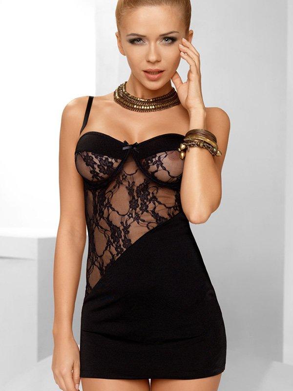 Соблазнительная черная сорочка Avanua Tiffany с трусиками – S/M