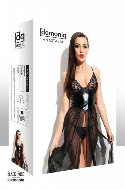 Длинное платье Demoniq Anastasia и трусики - черный, S/M