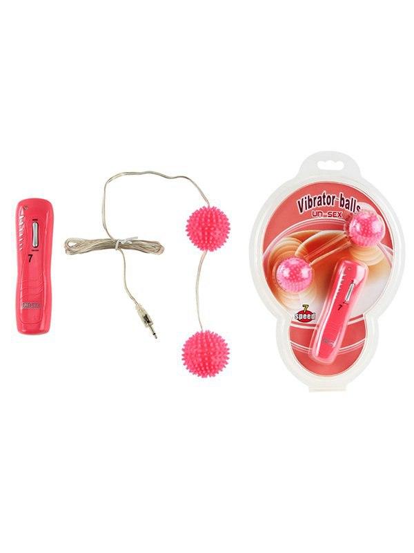 Вагинальные вибро-шарики с шипами Vibrator-balls с пультом управления – розовый