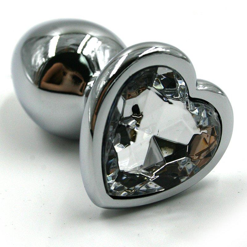 Средняя алюминиевая анальная пробка Kanikule Medium с кристаллом в форме сердца – серебристый с прозрачным