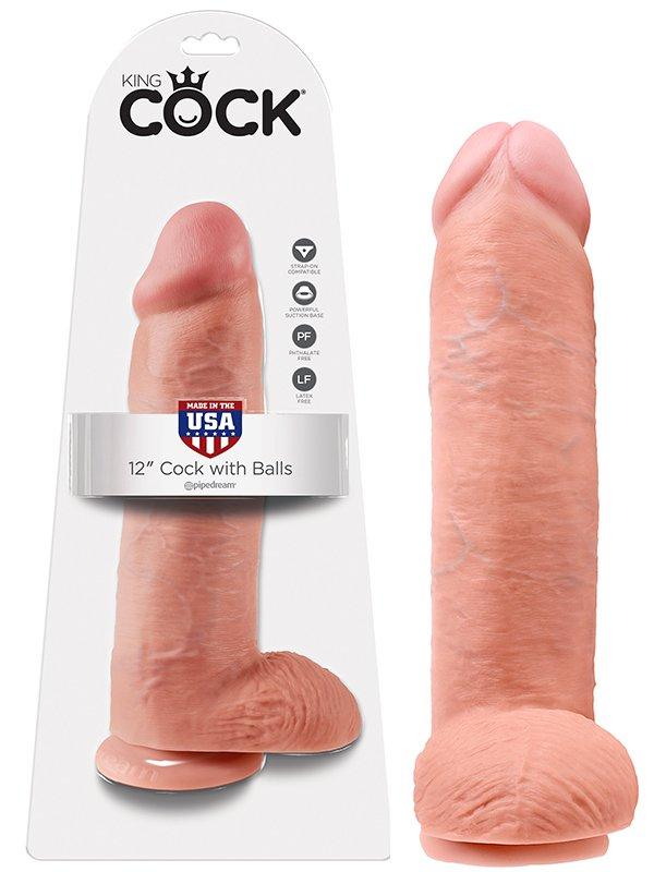 Pipedream Фаллоимитатор-реалистик с мошонкой 12 Cock with Balls на присоске  телесный