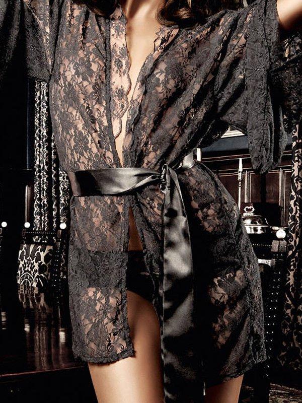 Кружевное кимоно Baci Deeper in Hell  черный (Baci Lingerie, США)