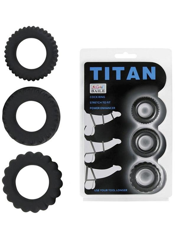 Набор из 3-х эрекционных колец Titan с рельефом – черный
