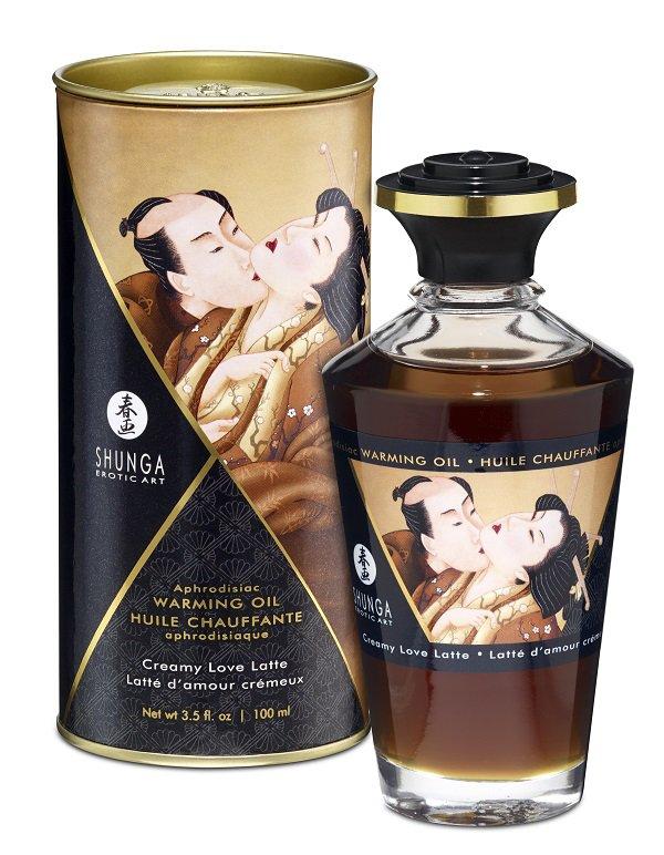 Съедобное разогревающее массажное масло Shunga Afrodisiac «Сливочный любовный латте» - 100 мл
