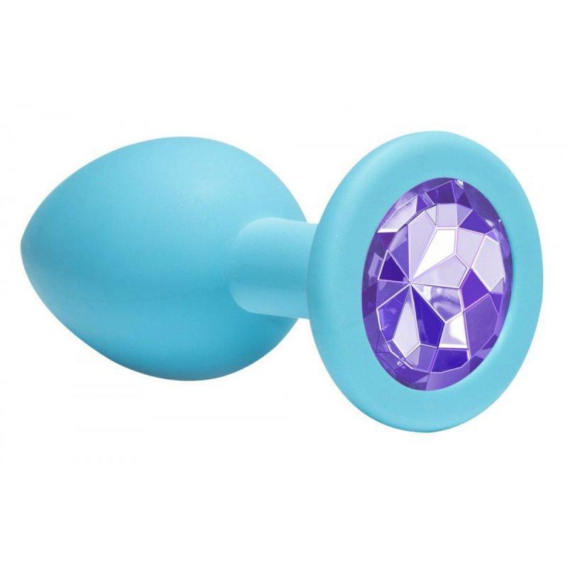 Анальная пробка Emotions Cutie Medium Turquoise light purple crystal 4012-04Lola анальная пробка diamond light blue sparkle large 4010 04lola