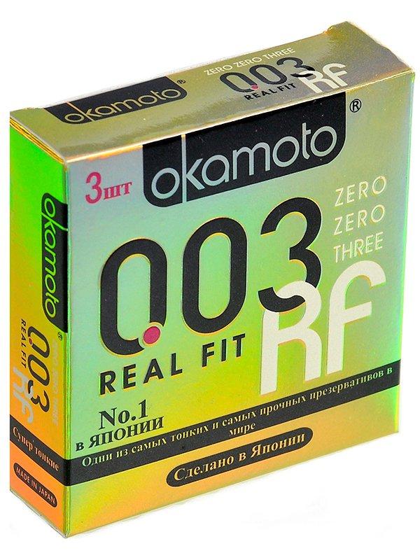 Супер тонкие презервативы Okamoto 003 Real Fit анатомические  3 шт