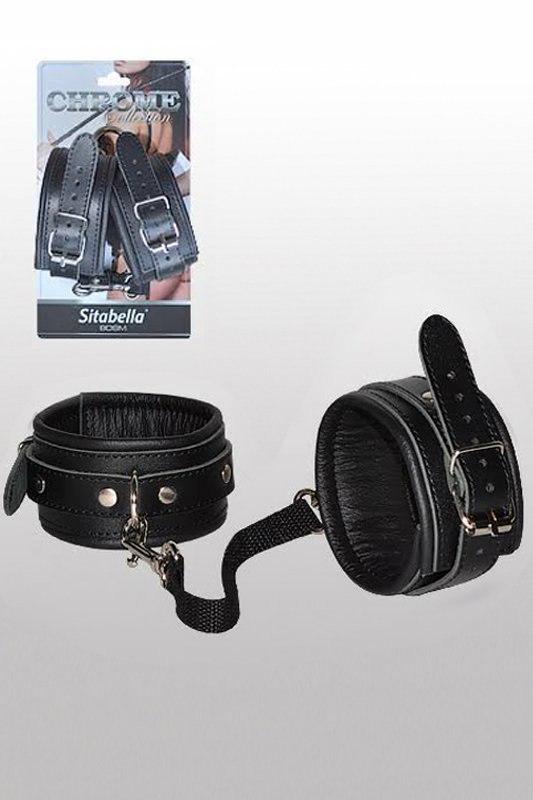 Кожаные оковы Sitabella Chrome Collection  черный с серебристым (СК-Визит, Россия)