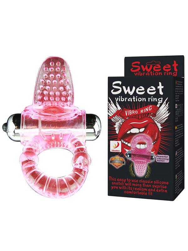 Эрекционное виброкольцо Sweet Vibration Ring с язычком – розовый