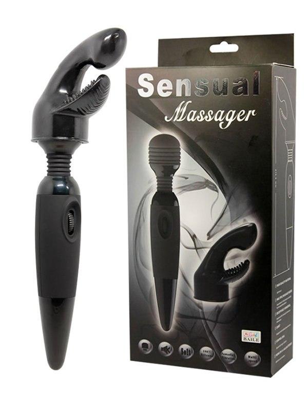Вибромассажер с гибкой головкой Sensual Massager со сменной насадкой – черный от Он и Она