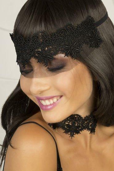 Кружевная маска-диадема ручной работы Dolce Piccante Аlbori - черный