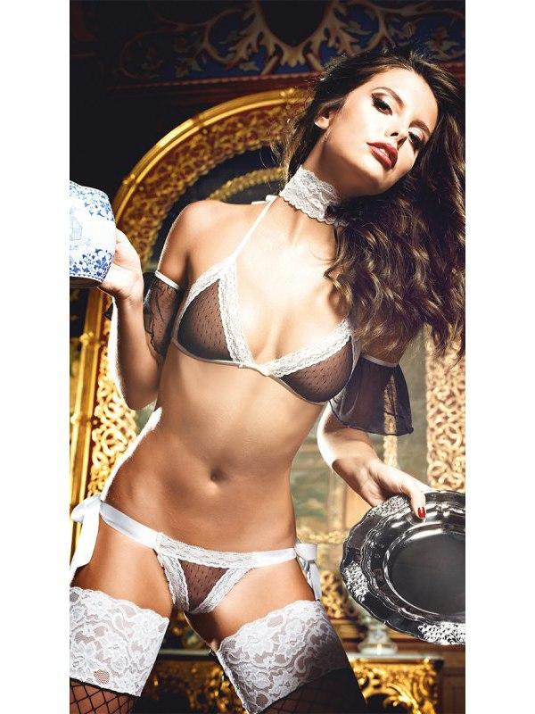 Очаровательный комплект нижнего белья Maid: бюстальтер, трусики и воротничок –  черно-белый