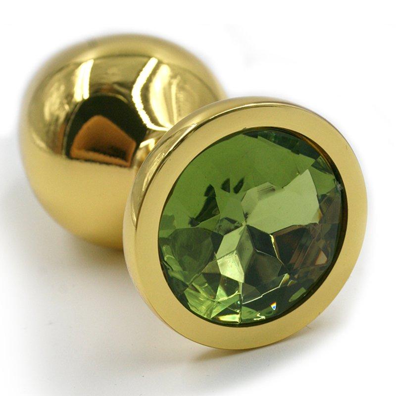 Маленькая алюминиевая анальная пробка Kanikule Small с кристаллом – золотистый с зеленым