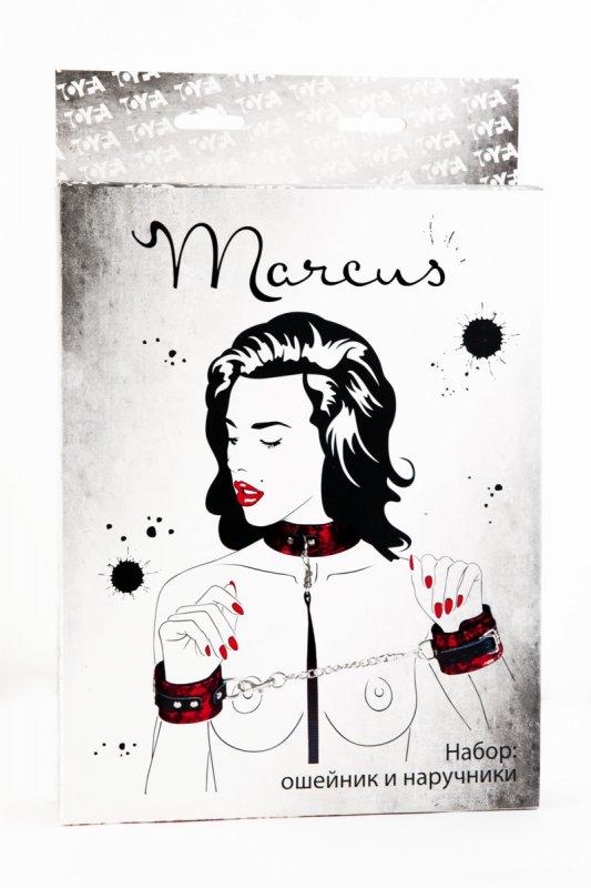 Кружевной набор ошейник и наручники TOYFA Marcus – красный