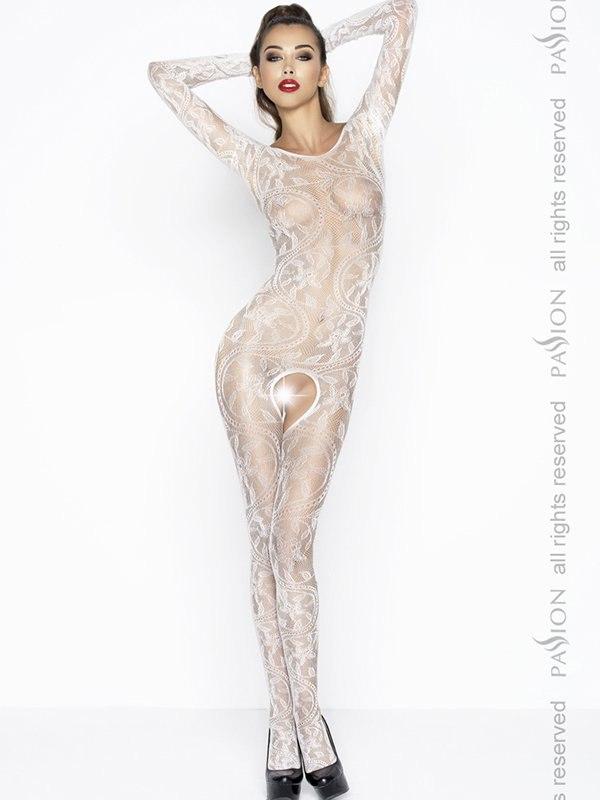 Комбинезон-сеточка с длинными рукавами Фантазия флора (Passion) – белый