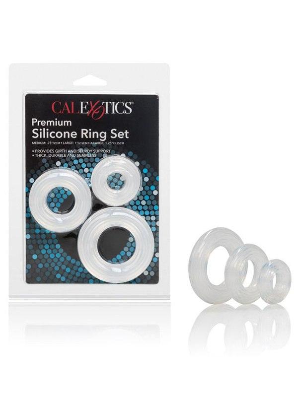Премиум набор колец на пенис из силикона Premium Silicone Ring Set – прозрачный
