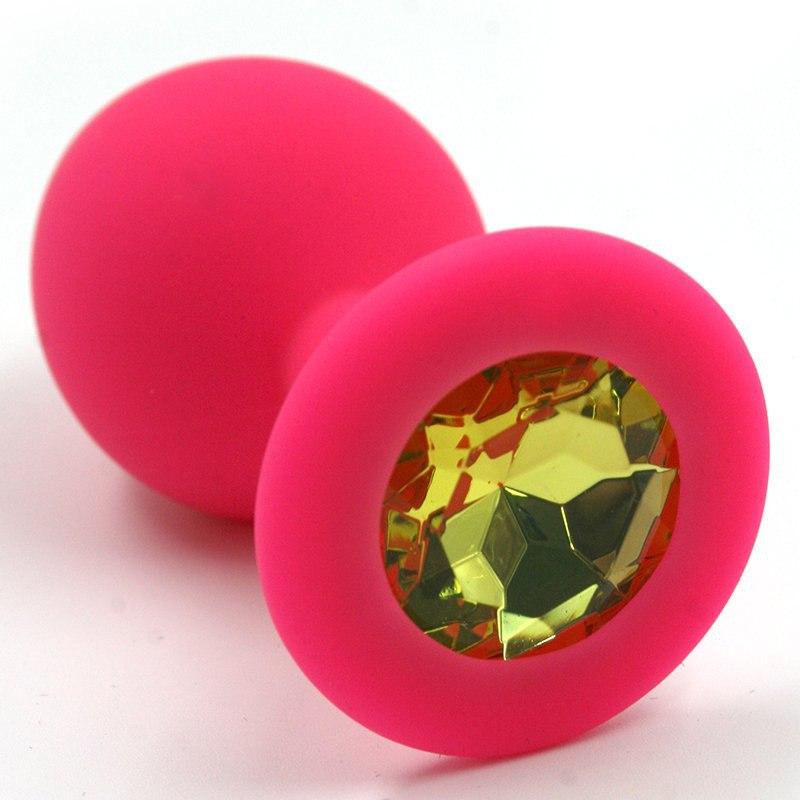 Средняя силиконовая анальная пробка Kanikule Medium с кристаллом – розовый с желтым