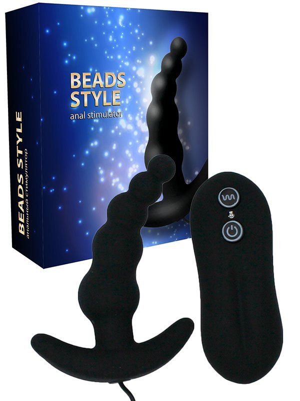 Анальный стимулятор-елочка с вибрацией на пульте управления Beads Style – черный