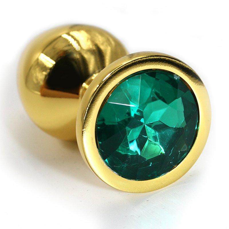 Маленькая алюминиевая анальная пробка Kanikule Small с кристаллом – золотистый с изумрудным