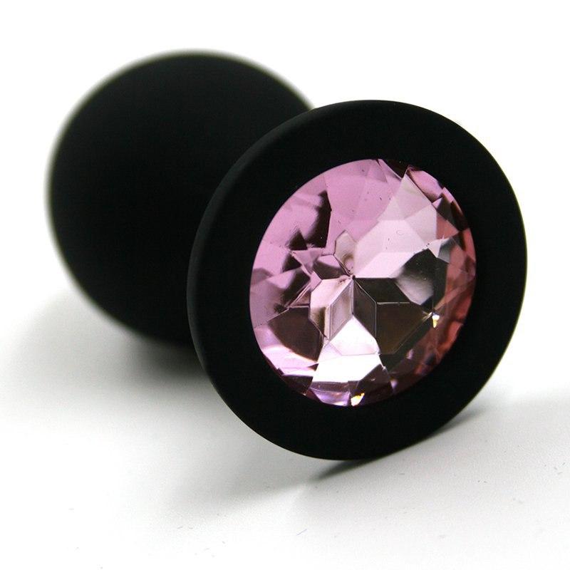 Большая силиконовая анальная пробка Kanikule Large с кристаллом – черный со светло-розовым
