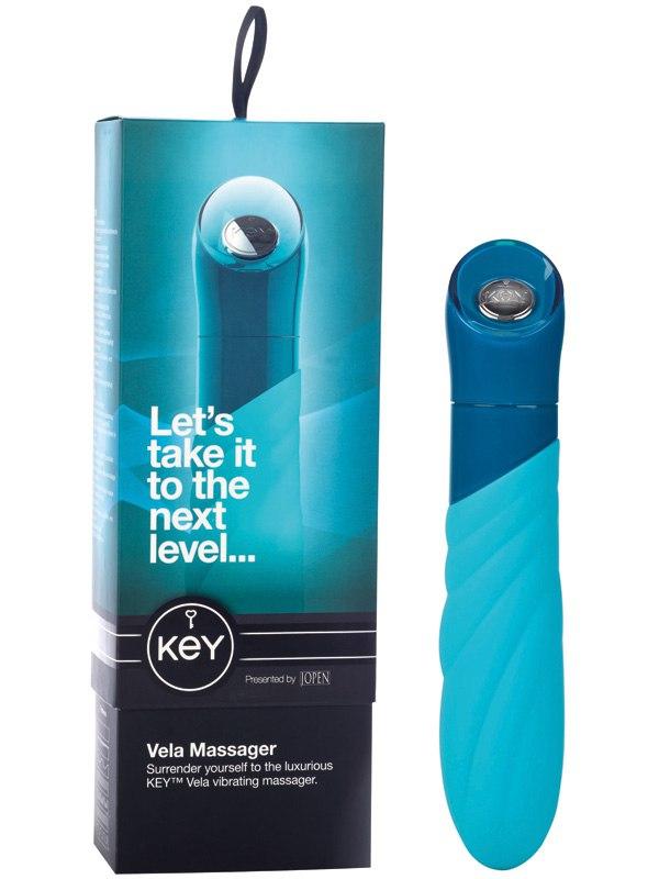 Дизайнерский вибратор Vela с элегантным рельефом - Blue