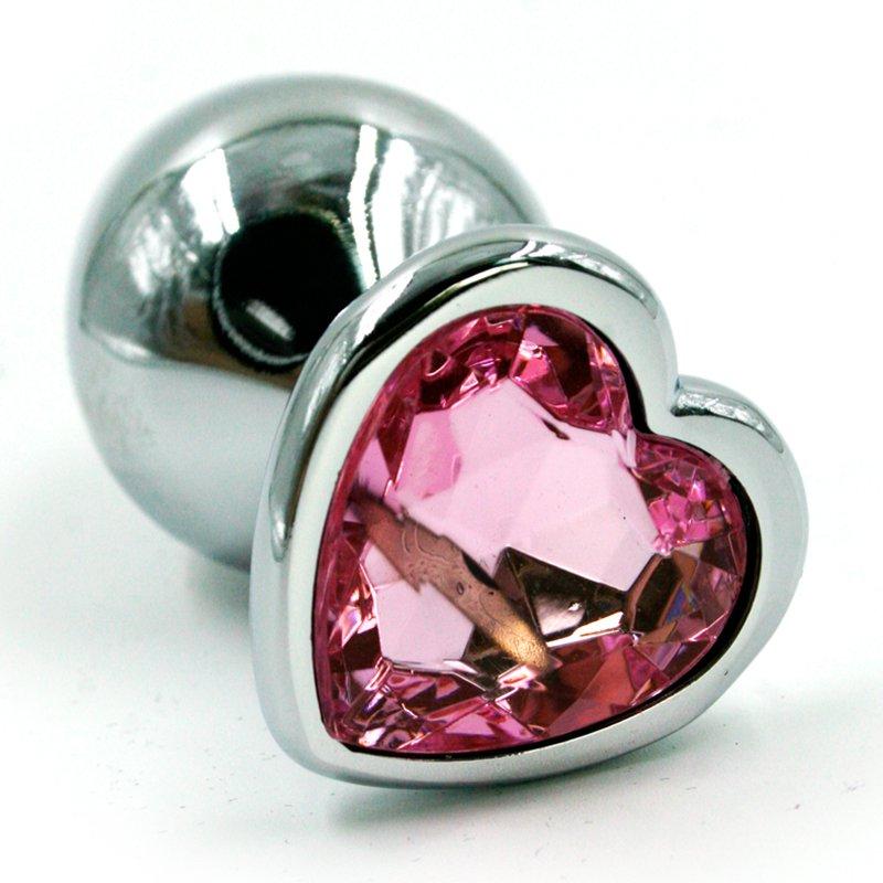 Маленькая алюминиевая анальная пробка Kanikule Small с кристаллом в форме сердца – серебристый со светло-розовым