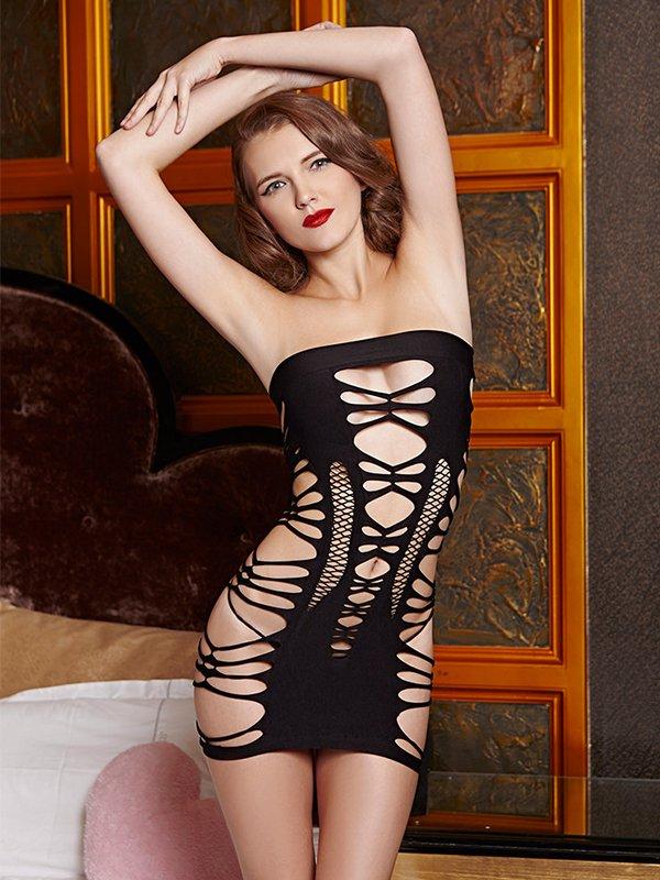 Стрейтч-платье с узорами (Temptlife)  черный