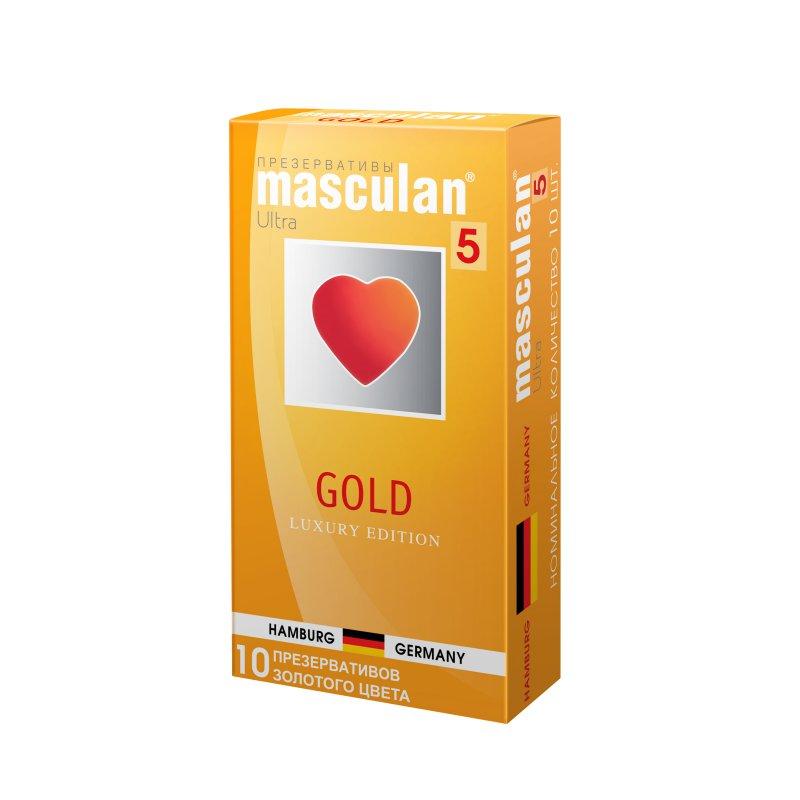 Презервативы Masculan 5 Ultra Золотые, утонченный латекс золотого цвета с ароматом ванили 10 шт