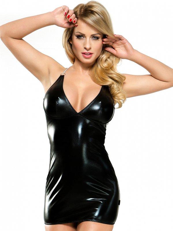Маленькое черное платье с серебристыми цепочками и стринги Demoniq Veronique 3 – S/M