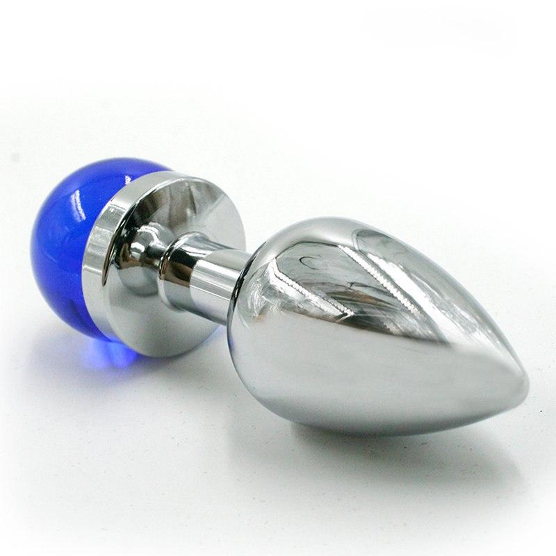 Маленькая алюминиевая анальная пробка Kanikule Small с украшением на основании – серебристый с голубым