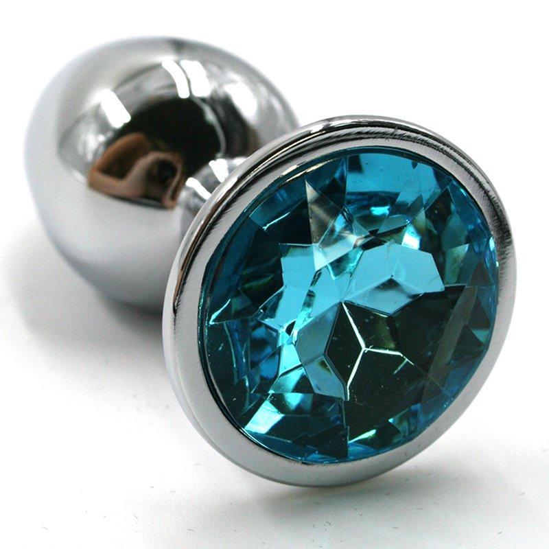 Маленькая алюминиевая анальная пробка Kanikule Small с кристаллом – серебристый с голубым