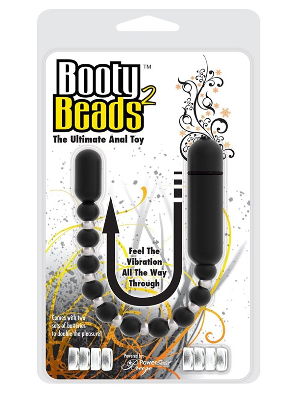 Анальная вибро-цепочка BMS Booty Beads – черная