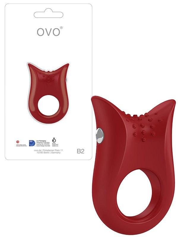 Эрекционное виброкольцо Ovo B2 текстурированное  красный