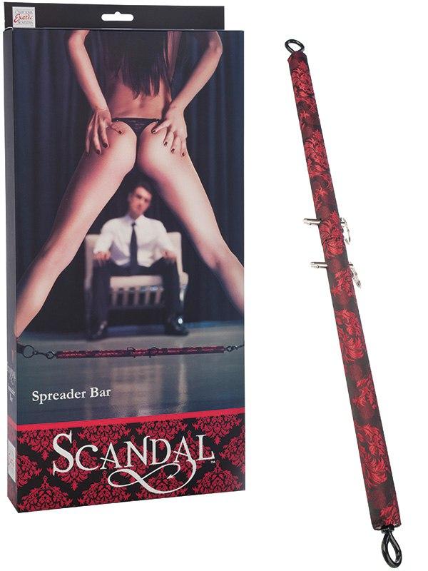 Здесь можно купить   Металлический стержень с креплениями для бондажа Scandal Spreader Bar в атласе Наручники, бондаж