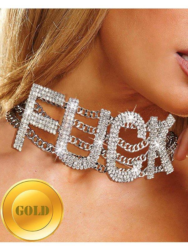 Широкий ошейник Ann Devine - Fuck Rhinestone Choker с кристаллами – золотой