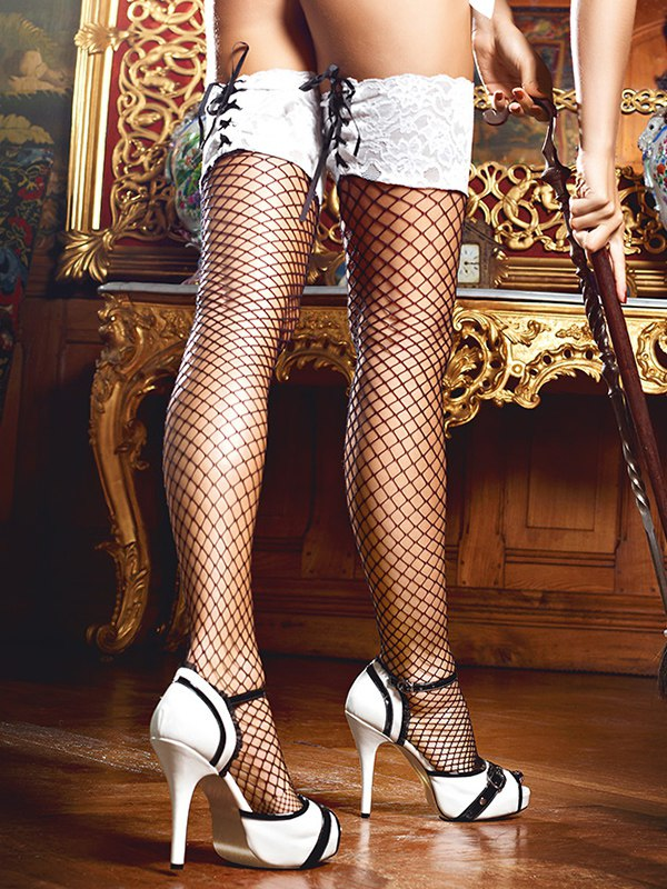 Чулки Five Star French Maid высокие в сетку  черные (Baci Lingerie, США)