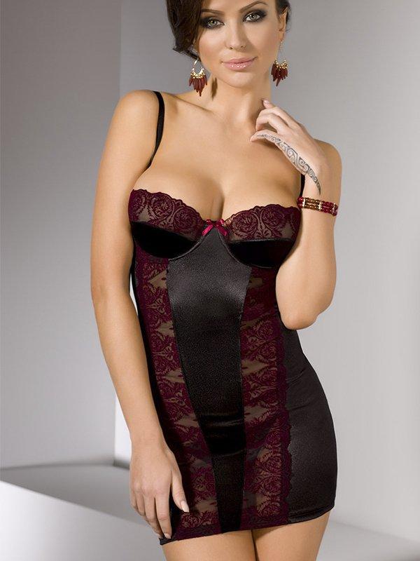 Изящная черная сорочка с вставками из цветочного кружева Nati (Casmir) – S/M