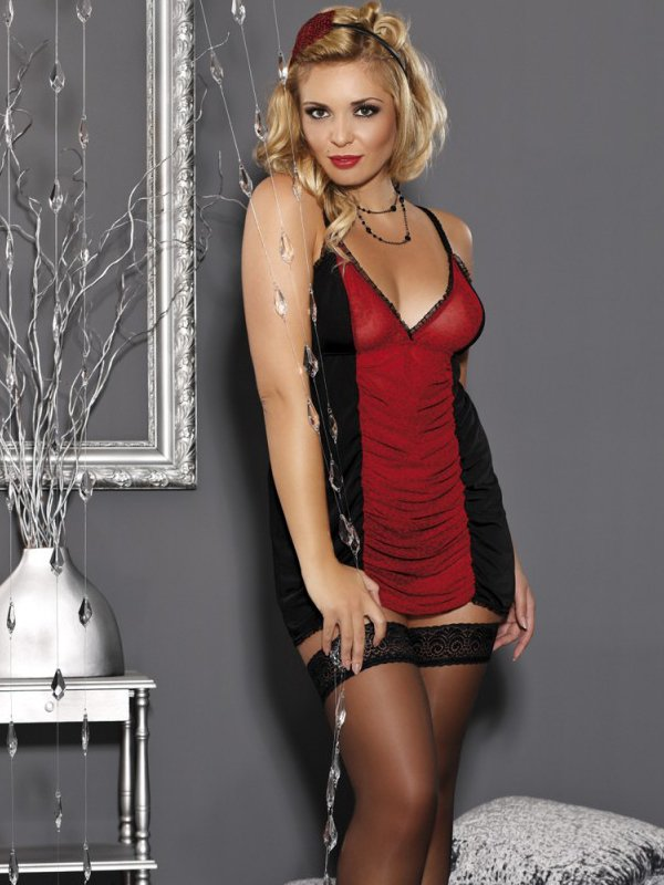 Элегантная черно-красная сорочка Andalea Pola – XXL