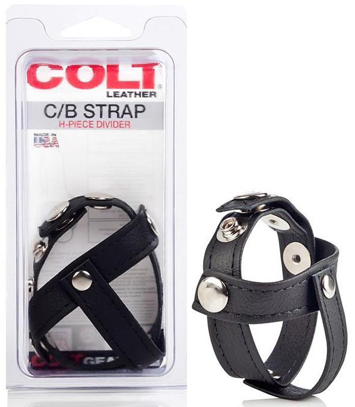 Кожаная утяжка на пенис с разделителем мошонки Colt C/B Strap H-Piece Divider – черный