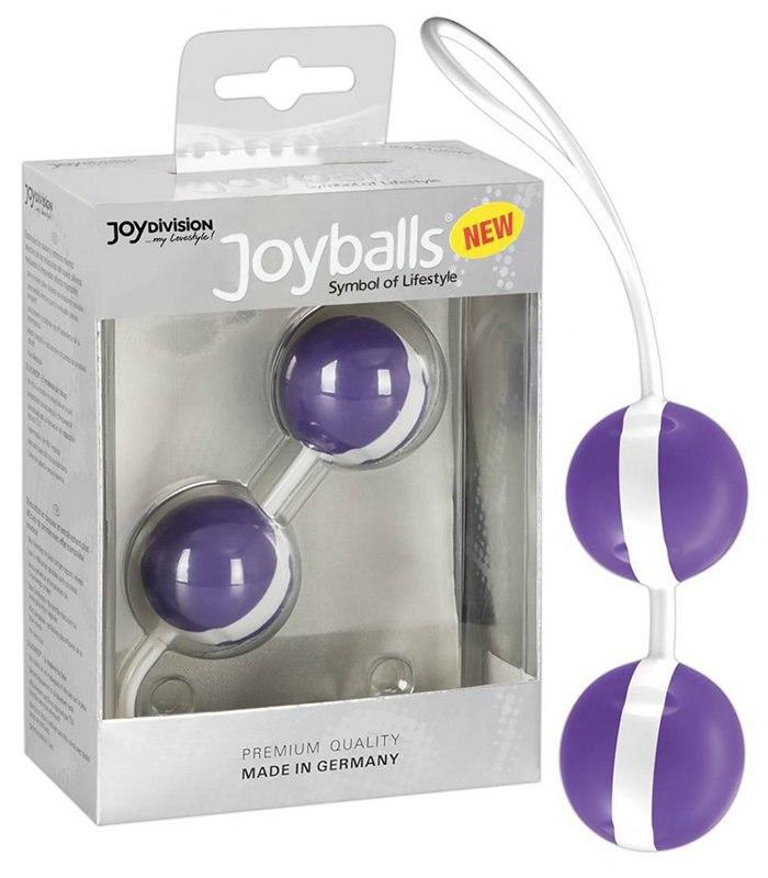 Вагинальные шарики Joyballs Bicolored со смещенным центром тяжести – фиолетовый с белым