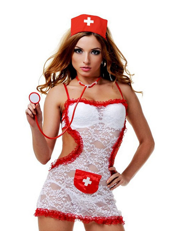 Сексапильный игровой костюм Медсестры Le Frivole – белый с красным, M/L