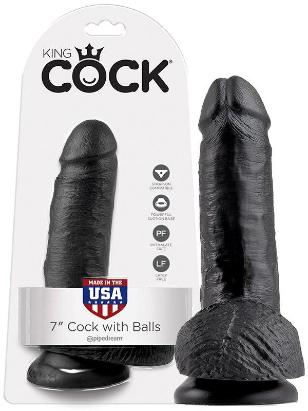 Фаллоимитатор-реалистик с мошонкой 7 Cock with Balls на присоске  черный (Pipedream, США)