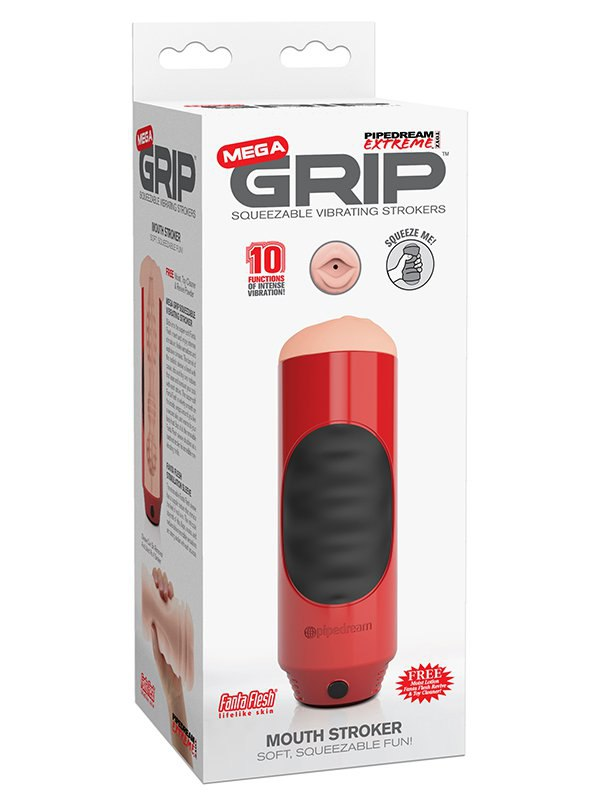 Мастурбатор ротик Mega Grip Vibrating Stroker Mouth с вибрацией - красный (Pipedream, США)