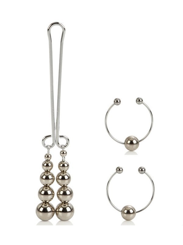 Зажимы на соски и зажим для клитора Clitoral Non-Piercing Body Jewelry – серебристый