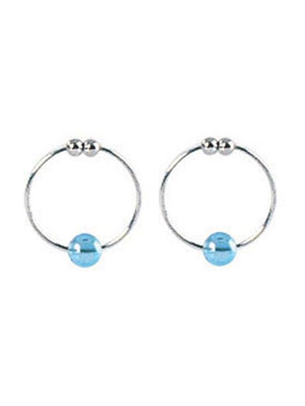 Зажимы-колечки на соски Silver Nipple Rings с голубой бусинкой – серебристый